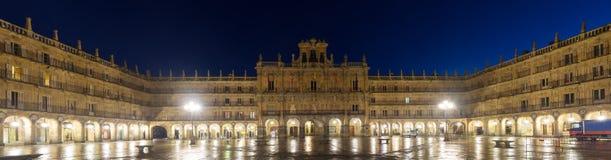 Night panorama of Plaza Mayor. Salamanca Royalty Free Stock Image