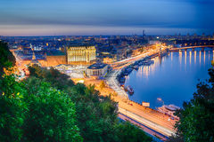 Night panorama of Podol in Kiev Stock Image