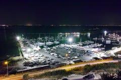 Night Panorama of the port of Sozopol,  Bulgaria Royalty Free Stock Image