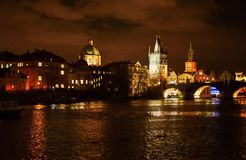 Night panorama of Prague city with Charles bridge Stock Photo