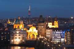 Night panorama of Prague, Czech Republic. Royalty Free Stock Photo
