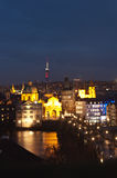 Night panorama of Prague, Czech Republic. Royalty Free Stock Image