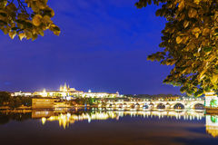 Night panorama of Prague, the Czech Republic Stock Photography