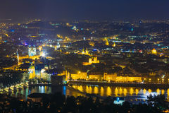 Night panorama of Prague, Czech Republic. Castle Royalty Free Stock Images
