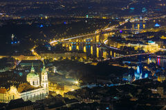 Night panorama of Prague, Czech Republic. Castle Royalty Free Stock Image