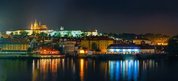 Night panorama of Prague, Czech Republic. Castle Stock Images