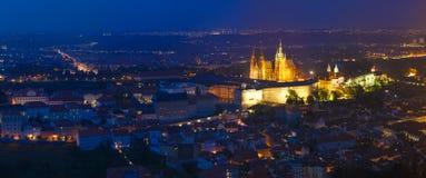 Night panorama of Prague, Czech Republic. Castle Stock Image