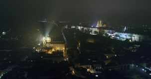 Night panorama of Prague, panoramic view from the air to the old town, lights of the night city, Prague stock footage