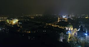 Night panorama of Prague, panoramic view from the air to the Old Town Square, lights of the night city, Prague stock video