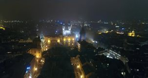 Night panorama of Prague, Panoramic view from the air to St. Vitus Cathedral in Prague, lights of the night city, Prague stock video