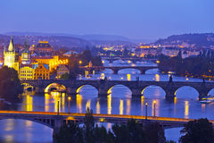 The night panorama of Prague Stock Photography