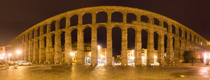 Night panorama of  Roman Aqueduct Royalty Free Stock Photo