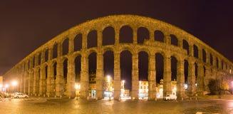 Night panorama of  Roman Aqueduct of Segovia Stock Images