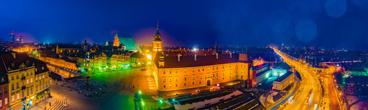 Night Panorama of Royal Castle and Old Town in Warsaw Royalty Free Stock Photo