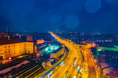 Night Panorama of Royal Castle and Old Town in Warsaw Stock Photography