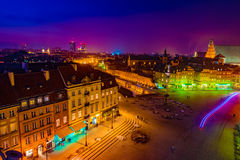Night Panorama of Royal Castle and Old Town in Warsaw Royalty Free Stock Images