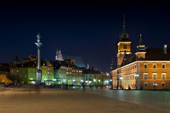 Night panorama of Royal Castle in Warsaw Stock Image