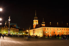 Night panorama of Royal Castle in Warsaw Royalty Free Stock Image