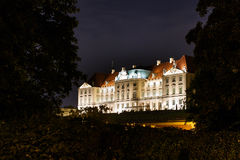 Night panorama of Royal Castle in Warsaw Royalty Free Stock Photo