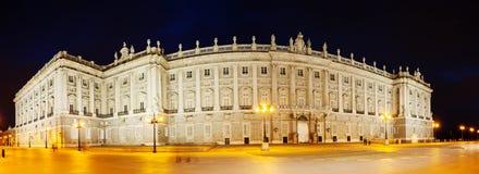 Night panorama of Royal Palace of Madrid Royalty Free Stock Photo