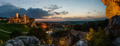 Night panorama with Ruins of medieval castle Ogrodzieniec stock photos