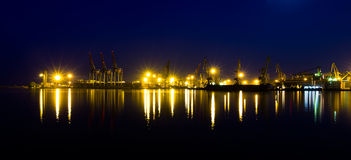Night panorama sea port of Odessa, Ukraine. Stock Photography