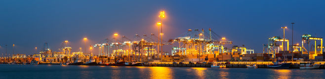 Night panorama of  seaport Stock Photography