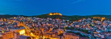 Night panorama of Sibenik, Croatia Stock Photos