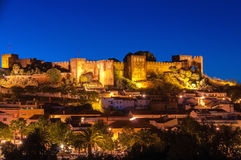 Night panorama of Silves Stock Photo