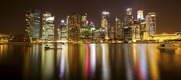 Night panorama of skyscrapers Marina Bay in Singapore. Travel. Royalty Free Stock Photography