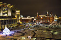 Night panorama of State Historic Museum and cathedral of Vasiliy Beatific Royalty Free Stock Photos