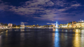 Night panorama of Stockholm, Sweden Stock Photos