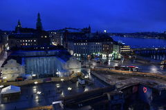 Night panorama of Stockholm, Sweden. Night panorama of Stockholm in Sweden Stock Photos