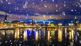 Night panorama of Stockholm, Sweden Royalty Free Stock Photography