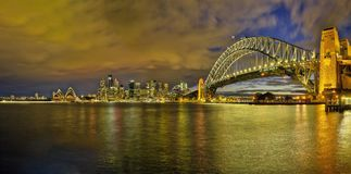 Sydney, Australia - circa September 2016: View of major landmarks in Sydney from Kirribilli viewpoint. Night panorama of Sydney Harbour Bridge and Sydney CBD Stock Photography