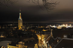 Night panorama on Tallin old city Royalty Free Stock Photos