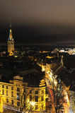 Night panorama on Tallin old city Stock Images