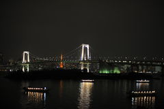 Night panorama of Tokyo Bay with Rainbow Bridge Stock Photography