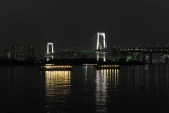 Night panorama of Tokyo Bay with Rainbow Bridge Royalty Free Stock Photography