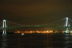 Night panorama of Tokyo Bay with Rainbow Bridge Stock Images