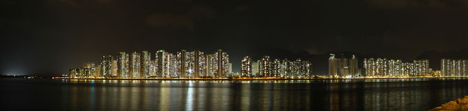 Night Panorama of Tolo Harbor, Hong Kong Royalty Free Stock Images