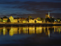 Night panorama of Torun, Poland. Stock Photos