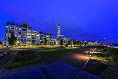 Night panorama of Vastra Hamnen Harbour in Malmo Royalty Free Stock Image