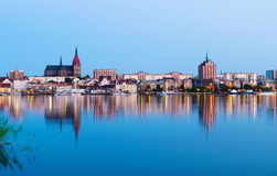 Night Panorama view to Rostock. River Warnow and City port. Royalty Free Stock Photo