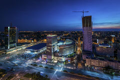 Night panorama of Warsaw Stock Photography