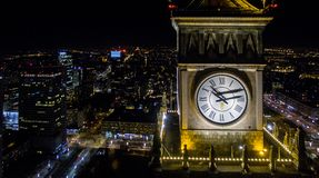 Night panorama of Warsaw from drone. Night panorama of Warsaw from above, clock on PKiN tower, photo from the drone, May 2017, Warsaw, Poland Royalty Free Stock Photography