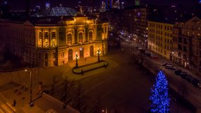 Night panorama of Warsaw from drone. Night panorama of Warsaw from above, Warsaw University of Technology and downtown, photo from the drone, December 2016 stock photos