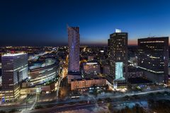 Night panorama of Warsaw city center Royalty Free Stock Photography