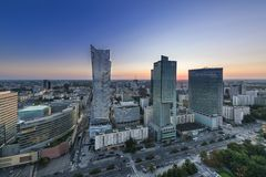 Night panorama of Warsaw city center Stock Images