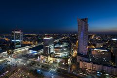 Night panorama of Warsaw city center Royalty Free Stock Images